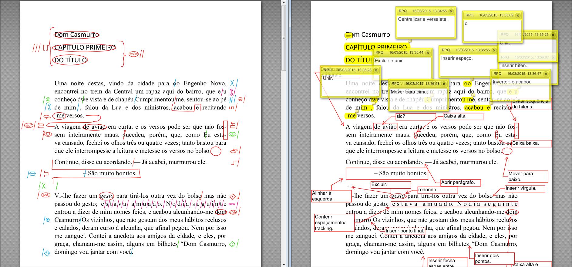 Diferença entre sinais de revisão e balões no PDF