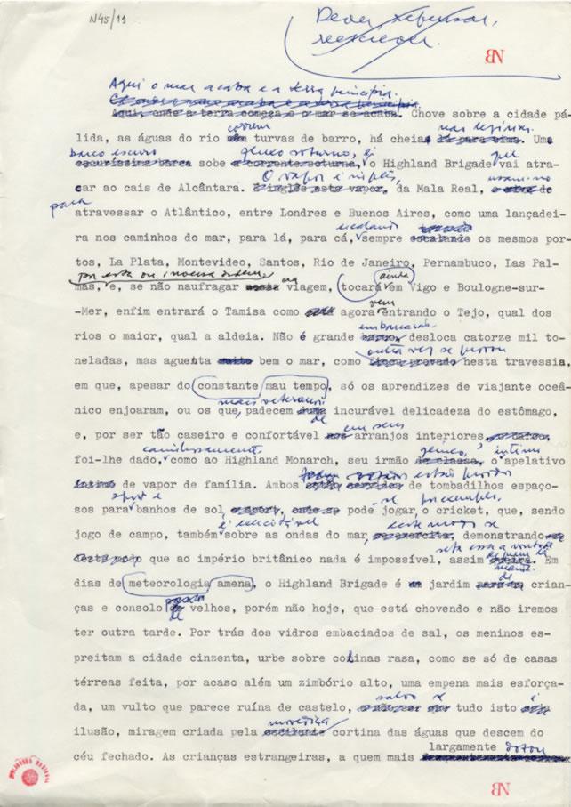 Manuscrito O Ano da Morte de Ricardo Reis