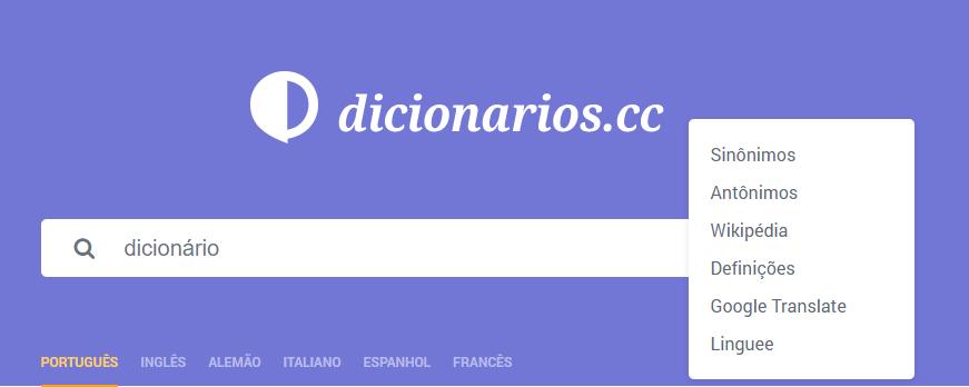 dicionarios _menu
