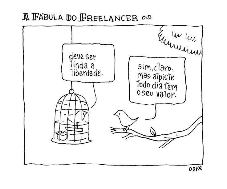 tirinha a fábula do freelancer